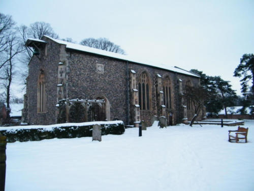 St Lawrence outside in the snow